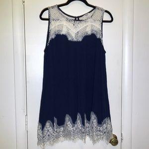 Umgee L(12/14) Lace Yoke Babydoll Mini Dress